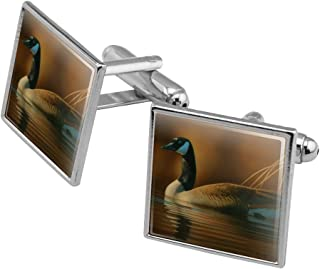Canada Canadian Goose Square Cufflink Set - Silver or Gold