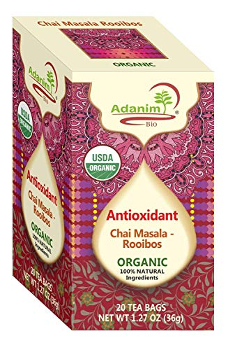Adanim MASALA CHAI & ROOIBOS TEA BAGS - Organic Indian Tea Style with Bombay Herbal Spice Blend (Pack of 4, 80 total) spiced with India chi mix