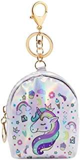 RARITY-US Mini Wallet Zip Around Cute Unicorn Holographic Coin Purse Change Purse with Key Ring