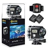 Action Cam 4K WIFI Kamera, 12MP Ultra Full HD Doppelschirm Kamera Unterwasserkamera Helmkamera...