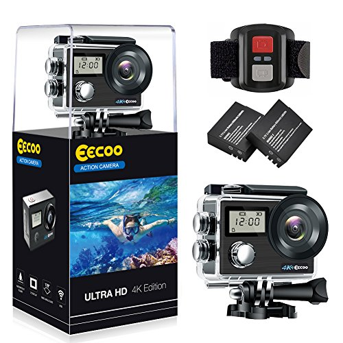 eecoo Action Cam 4K WiFi Ultra Full HD Impermeabile 30M Sott'Acqua Camera con Dual Screen 170°Grandangolare 2.0 Pollici Due 1050mAh Batterie con Custodia Impermeabile e Kit di Accessori