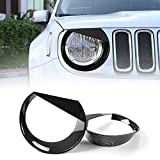 JeCar Headlight Trim Angry Bird Head Lights Lamp Cover for Jeep Renegade 2015 2016 2017(Pack of 2, Carbon Fiber)