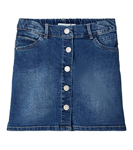 NAME IT Mädchen NKFTEGANI DNM 2278 A-Shape Skirt NOOS Rock, Medium Blue Denim, 128