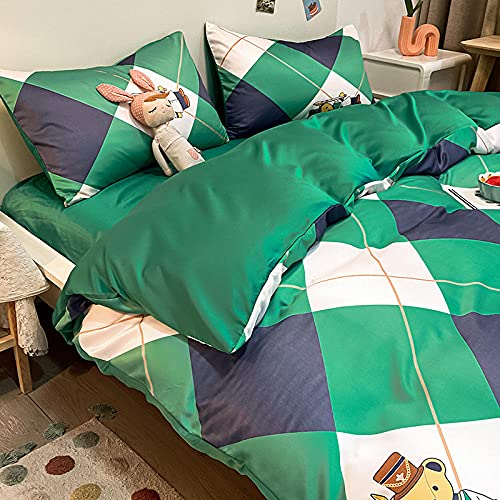 Juego de Funda de edredón tamaño King,Paquete de seda de seda de lavado de agua de verano Paquete de seda de hielo de cuatro piezas pequeñas de cuatro piezas.-mi_1,8 m de cama (envasado para 200 * 23
