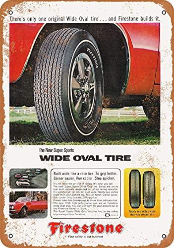 Lawenp 1967 Firestone Wide Oval Neumáticos Vintage Look Letrero de metal para decoración de pared de café en el hogar 8 x 12 pulgadas
