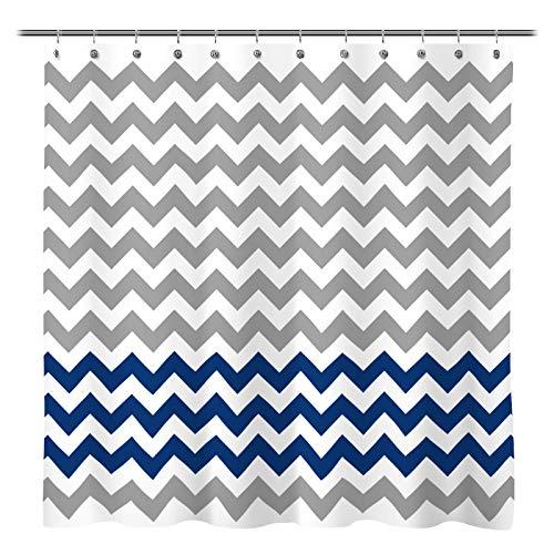 Sunlit Zigzag Navy Blue and Grey White Chevron Fabric Shower Curtain