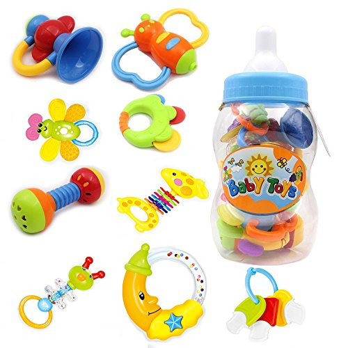 Infant Rattles Teethers Baby Toys  BPA Free MultiSensory Set Shake Grab with Bottle Storage for Hand Development Early Educational 3 6 9 12 18 Months Newborn Toddler 1 Years Old Boy Girl 9 Pack