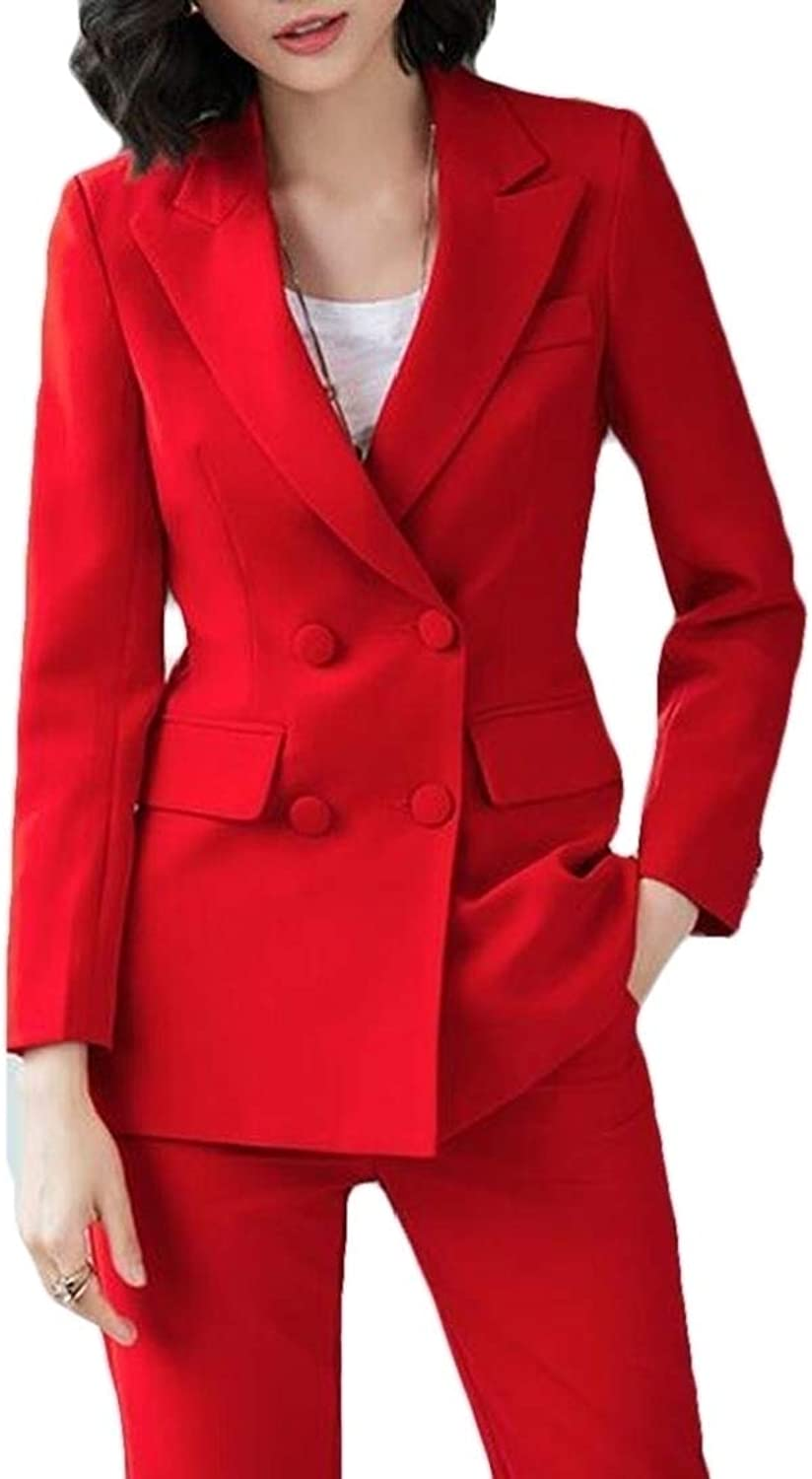 BLTR Women DoubleBreasted 2 Office Work Pure color Sets Outfits