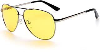 Aviator Night Vision Glasses for Driving Yellow NIghttime Mens Womens Sunglasses