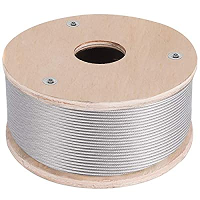 BestEquip 316 Stainless Steel Cable 250FT Stainless Steel Wire Rope 3/16 Inch 1x19 Steel Cable for Railing Decking DIY Balustrade (250FT)