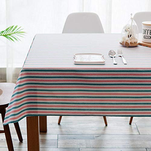 GTWOZNB Dust-Proof Cotton Linen Table Cover for Buffet Table, Parties, Holiday Dinner Simple pastoral striped rectangle-Blue powder_140X180CM