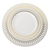 60-Pack of Luxury Disposable Plastic Plates for Upscale Parties- 30x10.25' inch Dinner Plates/ 30x 7.5' Dessert/Salad Plates – Lace Trim Designs in Gold, Silver and Rose Gold– Exquisite (Gold)
