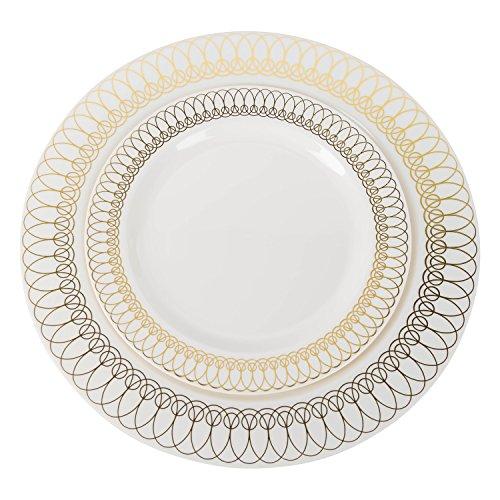 Luxus-Einweg-Teller aus Kunststoff für gehobene Partys, 76 x 26 cm, 30 x 19 cm, Dessertteller, Salatteller – Spitzen-Verzierungen in Gold, Silber und Roségold, 60 Stück gold