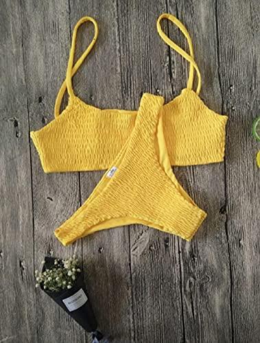 Anlemi Traje de baño con Formas del Cuerpo,Set de Bikini Acolchado de Mujer Sexy Push-up, Traje de baño de Traje de baño Plisado-Amarillo_Pequeña,Mujer Traje de Baño Vendimia