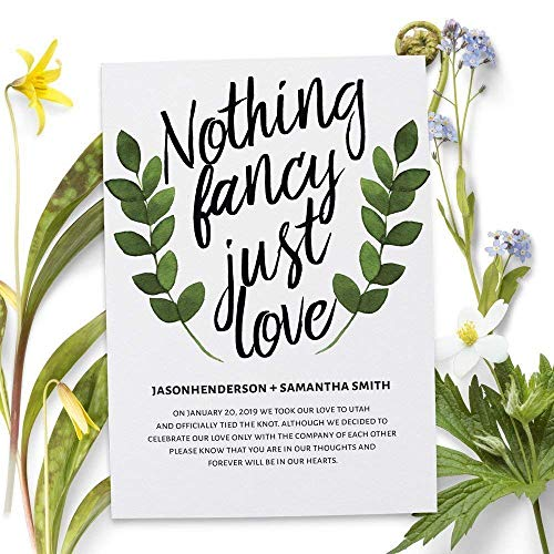 Nothing Fancy Just Love, Wedding Announcements, Elopement Announcement cards, Wedding Announcement Cards