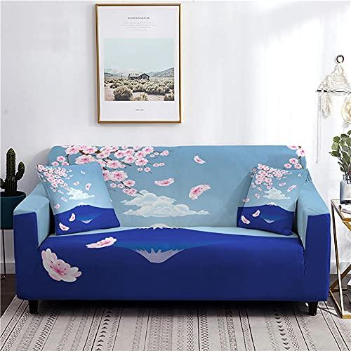 Funda Sofa 4 Plazas Chaise Longue Sakura Azul Fundas para Sofa con Diseño Elegante,Cubre Sofa Ajustables,Fundas Sofa Elasticas,Funda de Sofa Chaise Longue,Protector Cubierta para Sofá