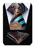 hisdern cravatta fazzoletto cravatta floreale paisley da uomo e fazzoletto da taschino per matrimoni, affari, feste