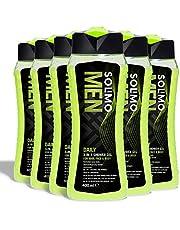 Marchio Amazon - Solimo Gel doccia uomo 3 in 1 (Corpo, viso, capelli) per uso quotidiano- Confezione da 6 (6 flaconi x 400 ml)