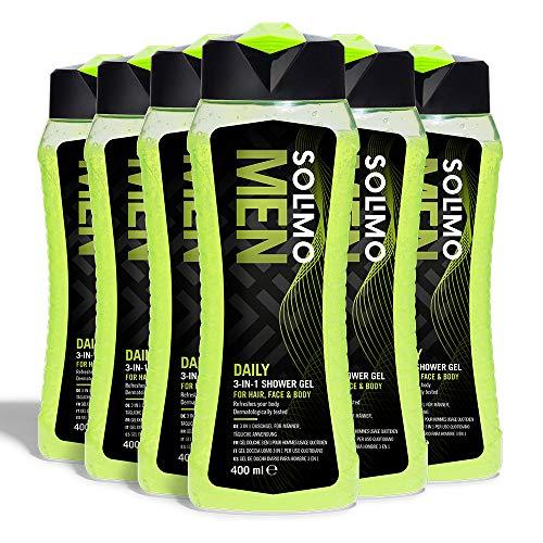 Amazon-Marke: Solimo 3-In-1 (Haar, Gesicht, Körper) Duschgel für Männer zur täglichen Anwendung- 6er-Pack (6 Flaschen x 400 ml)