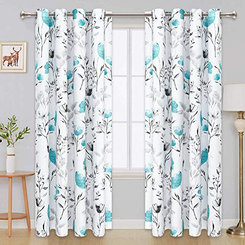 VERTKREA Curtains Flower Watercolor Window Curtains Teal Drapes Teal and Gray Window Curtains 52 × 63 Inches Flower Leaves Grommet Curtain for Bedroom Living Room Kitchen Bathroom Nursery 2 Panels