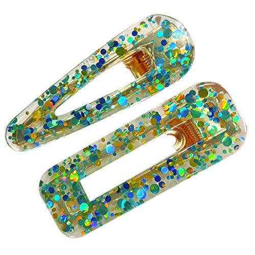 2pcs Mesdames Acrylique Géométrique Barrette Barrettes Glitter Accessoires Cheveux Colorés À Paillettes Accessoires Pour Cheveux Pince À Cheveux Coiffure