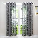 Heichkell Voile Gardinenschal mit Ösen Transparent Vorhang mit Ausbrenner Design Wohnzimmer Gardine 1PC Store BxH 140x225cm Grau