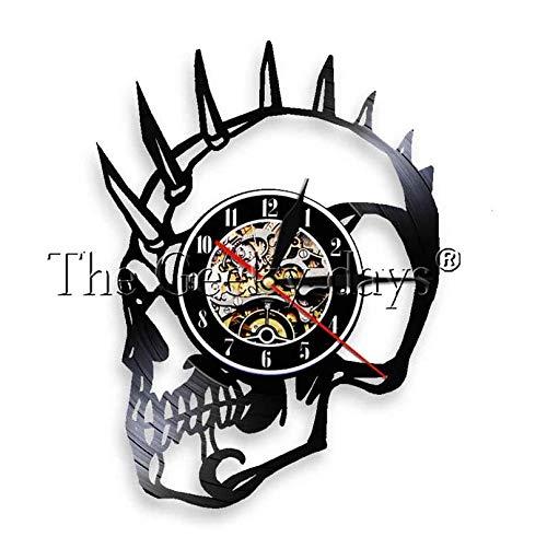 RTYRT Vinyluhr 30cm Punk Skull Mohawk Mohican Dead Skull Schallplattenuhr Dekoratives Grammophon Wanduhr Handgemachtes Geschenk