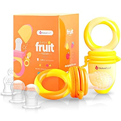 NatureBond Baby Food Feeder/Fruit Feeder Pacifier (2 Pack) - Infant Teething Toy Teether | Includes Additional Silicone Sacs by NatureBond
