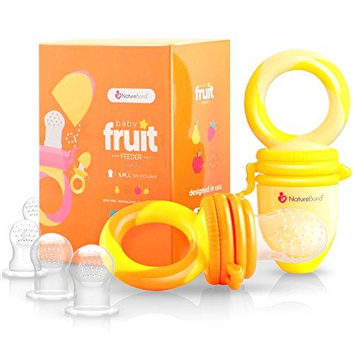 Tétine d'alimentation pour bébé/Tétine à fruit NatureBond Grignoteuse Bébé (Paquet de 2) - Jouet de dentition pour bébé aux couleurs appétissantes| En bonus toutes les tailles de sacs en silicone.