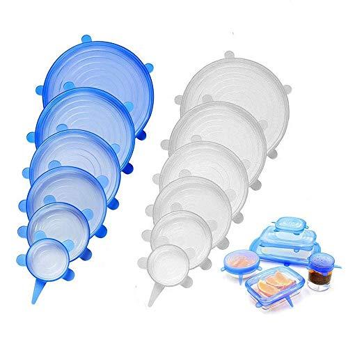 Qoosea Tapas estirables de silicona 12 paquetes de varios tamaños iTrunk Tapas de alimentos duraderas y expandibles reutilizables Tapas de tazones de silicona Cubiertas para ollas...