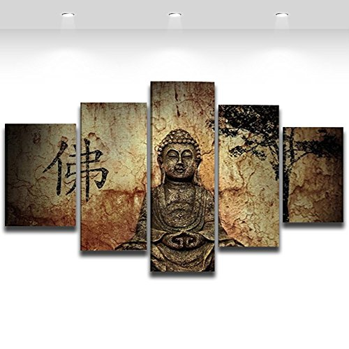 AlexArt 5 Pieces Buddha Canvas Wall Art Picture Home Decoration Living Room Canvas Print Painting On The Wall with Frame Ready to Hang
