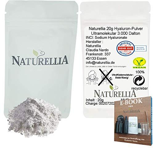 Naturellia 20g Ácido Hialurónico Vegano en Polvo Puro Ultramolecular Altamente Dosificado para la Elaboración de Cremas Cosméticas de Suero DIY y Adecuado para la Ingestión