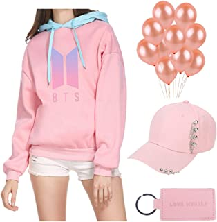 Youyouchard BTS Bangtan Boys Love Yourself Answer Pink Merchandise Set|BTS Hoodie+BTS Hat+BTS Keychain+Pink Balloons|The Most Romantic Gift for BTS Army