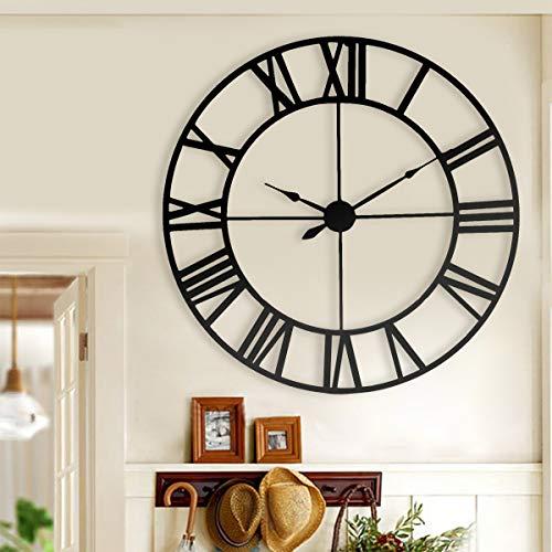 Baimu Reloj Pared Grande Adhesivos Nuevo 80 Cm Moderno 3D Grande Retro Negro Hierro Arte Reloj De Pared Hueco Números Romanos Decoración para El Hogar