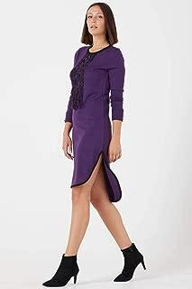 Kadın Püsküllü Yırtmaçlı Triko Elbise - Mor