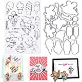 FADACAI Kartoon - Juego de sellos y troqueles para scrapbooking, silicona transparente, para hacer tarjetas, decoración