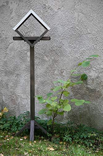 KUHEIGA Futterhaus aus Holz Zinkdach, braun, H:150cm, Futterstelle Vögel, Vogelhaus