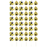 Amosfun 40 piezas de decoración de animales para cupcakes y abejas, decoración para tartas de bebé, decoración de frutas, palillos de dientes para primavera y niños