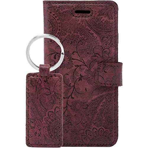 SURAZO Handy Hülle Für Apple iPhone 8 Plus Book Classic Ornament Burg& - Glattleder Premium - Vintage Wallet Hülle