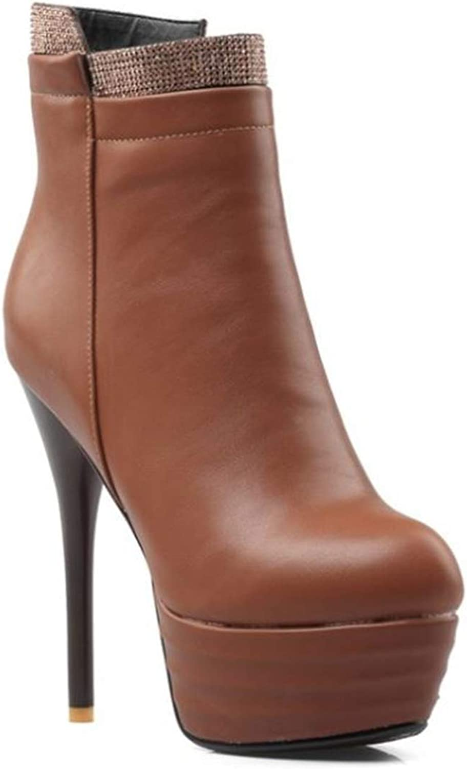 Women's Handcrafted Rounded Toe Side Zipper Slim Fashion Platform Ankle Boots