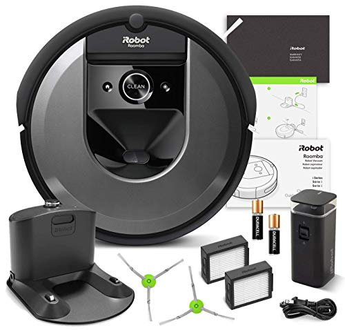 iRobot Roomba i7 Robotic Vacuum Bundle- Alexa Connected, Home Mapping, Great for Pet Hair (+1 Extra Edge-Sweeping Brush, 1 Extra Filter)
