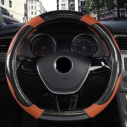 Steering Wheel Black D Shape Auto Steering Wheel Cover Micro Fiber Leather 38cm Wheel Cover Verbouwing (Color : Brown, Size : Free)