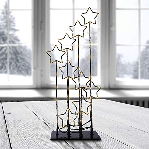 DecoKing 90er LED Sterne Lampe warmweiß Strombetrieb dekoratives Licht Deko Stars Magic
