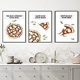 LLXXD Cartel de Acuarela de Pizza Italiana Moderna Arte de Pared Good Food Impresión de Lienzo Cuadros de Pintura Cocina Comedor Decoración del hogar 40x50cmx3 (sin Marco)