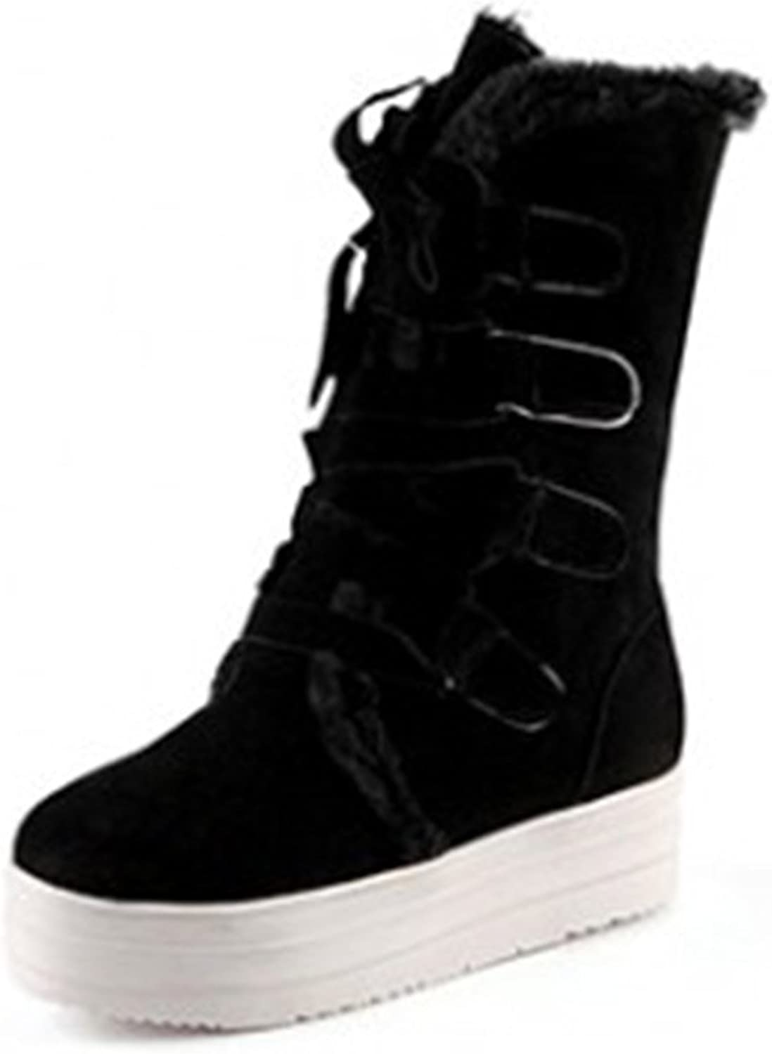SFNLD Women's Warm Fur Lined Winter shoes Snow Boots