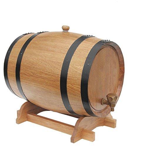 SKSNB Barriles de Roble Puro de 3 litros Cubo de Vino Genuino de Roble Blanco Ruso Carbonización Interna para Hornear Sin Fugas para Almacenamiento o envejecimiento de vinos, licores y w