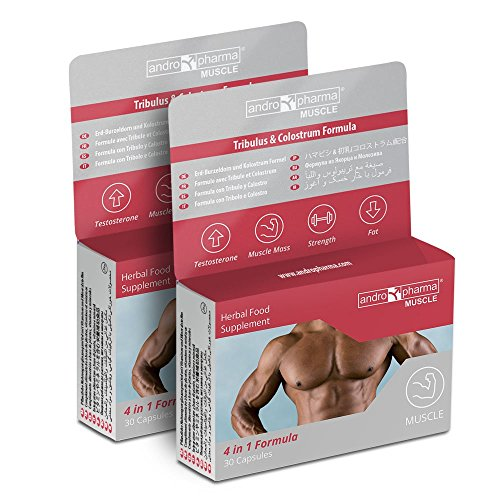 Andropharma Muscle è una formulazione 4 in 1: Aumento della massa muscolare, Riduzione del grasso corporeo, Aumento della forza fisica e Aumento dell'autostima 2 Mesi di Tratttamento = Totale 60 capsule - Ingredienti Scientificamente Testati - Certif...