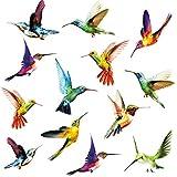 Birds Wall Decal, Hummingbird Window Clings Anti-Collision Window Clings Decals, Creative Flying Bird Sticker for Window&Living Room Office Nursery Wall Art Decor, Animals Stickers Vinyl Decortion