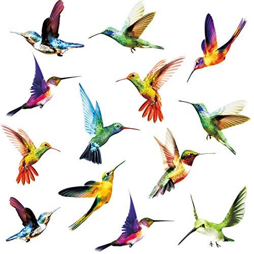 KAIRNE 24 Stücke Fenstersticker Vögel,Vogel Fensteraufkleber Transparent, Kolibri Fenster Aufkleber,Tiere Wandtattoo Wandaufkleber für Wohnzimmer Schlafzimmer Wanddeko, Schutz vor Vogelkollisionen
