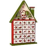 WeRChristmas–Figura Decorativa de casa de Madera Calendario de adviento de Navidad, Multicolor, 37cm